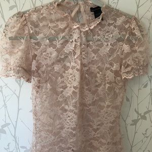 Blush dusty rose pink lace see through top